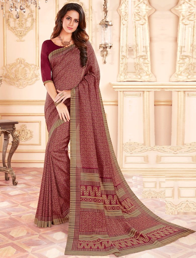 Maroon Color Cotton Silk Casual Party Sarees : Ambala Collection  NYF-2205 - YellowFashion.in