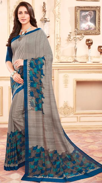 Grey Color Cotton Silk Casual Party Sarees : Ambala Collection  NYF-2207 - YellowFashion.in
