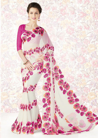White & Pink Color Georgette Casual Party Sarees : Mishrani Collection  YF-45993
