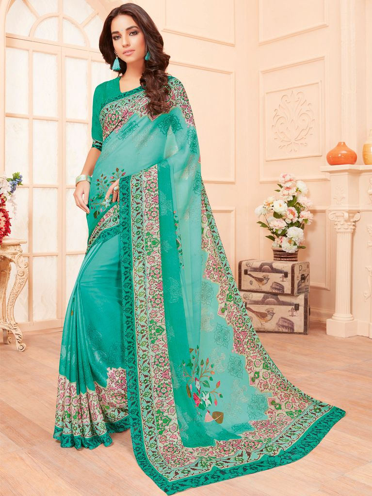 Aqua Blue Color Chiffon Party & Function Wear Sarees :  Praniti Collection  NYF-2316 - YellowFashion.in