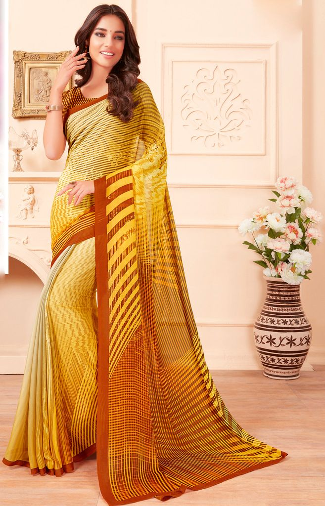 Yellow Color Chiffon Party & Function Wear Sarees :  Praniti Collection  NYF-2318 - YellowFashion.in