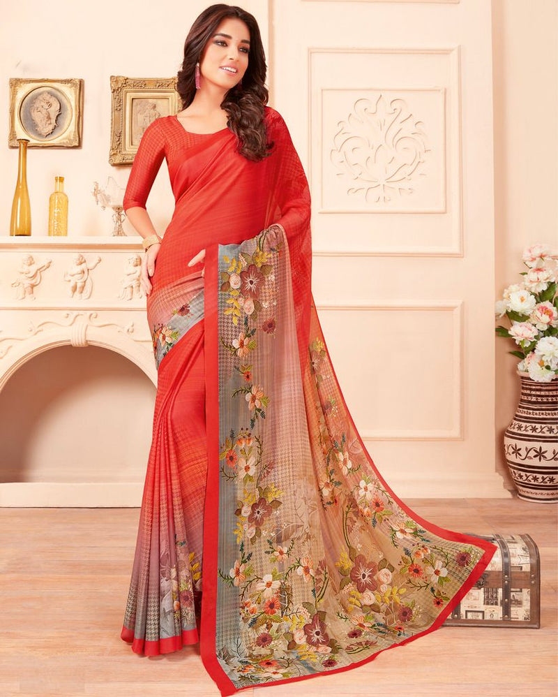 Peach Color Chiffon Party & Function Wear Sarees :  Praniti Collection  NYF-2320 - YellowFashion.in