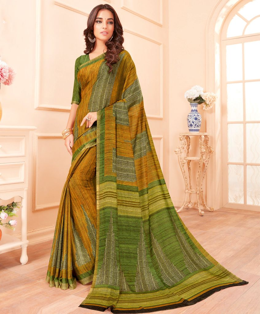 Mustard Yellow & Green Color Chiffon Party & Function Wear Sarees :  Praniti Collection  NYF-2321 - YellowFashion.in