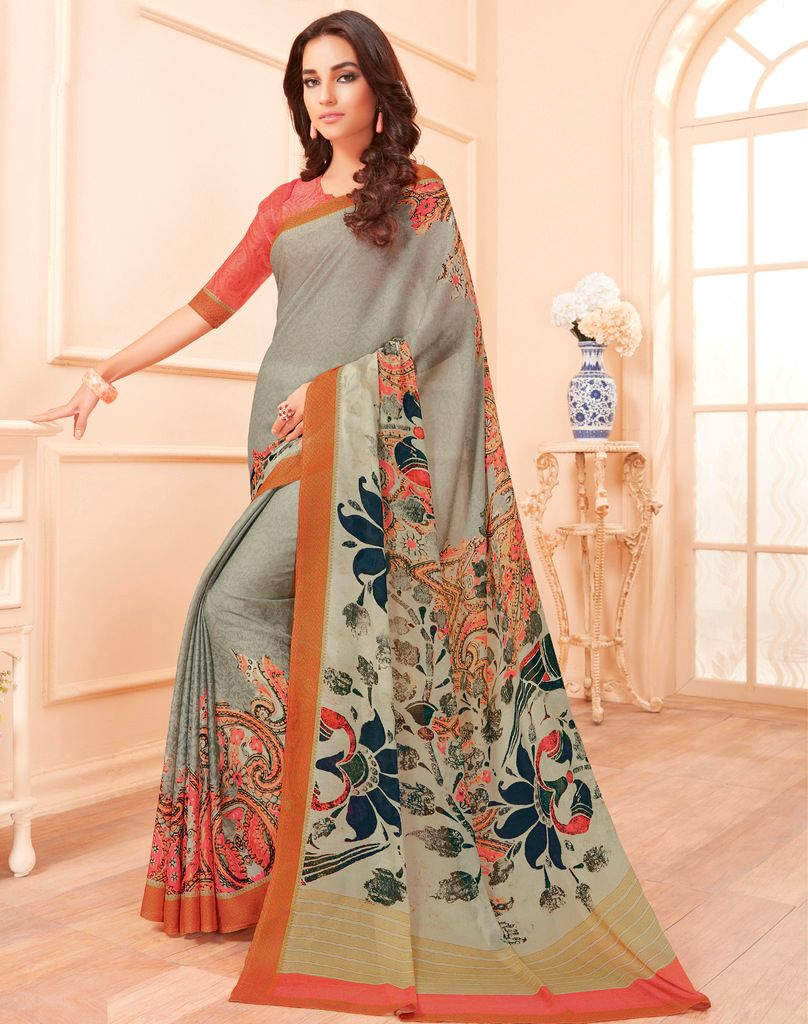 Grey Color Chiffon Party & Function Wear Sarees :  Praniti Collection  NYF-2324 - YellowFashion.in