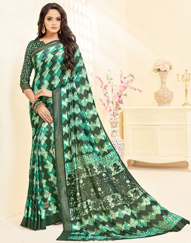 Green Color Bhagalpuri Casual Party Sarees : Ritvish Collection YF-70748