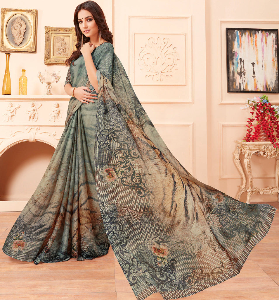Grey Color Chiffon Party & Function Wear Sarees :  Praniti Collection  NYF-2328 - YellowFashion.in