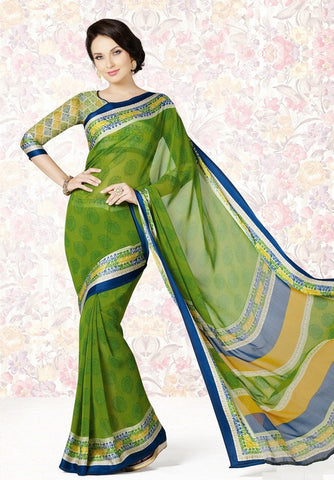 Green Color Georgette Casual Party Sarees : Mishrani Collection  YF-45995