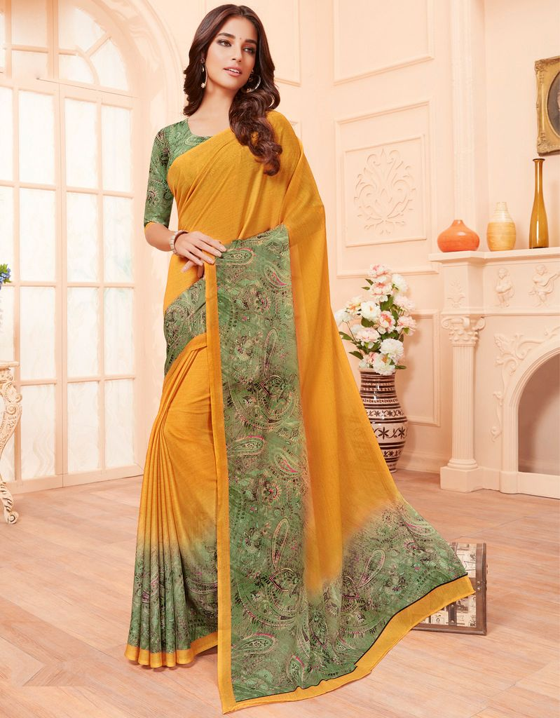 Mustard Yellow Color Pashmina Silk Party & Function Wear Sarees :  Praniti Collection  NYF-2329 - YellowFashion.in