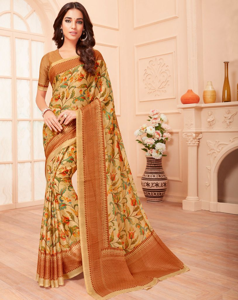 Light Coffee Color Pashmina Silk Party & Function Wear Sarees :  Praniti Collection  NYF-2332 - YellowFashion.in