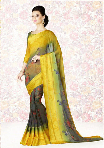 Yellow Color Georgette Casual Party Sarees : Mishrani Collection  YF-45996