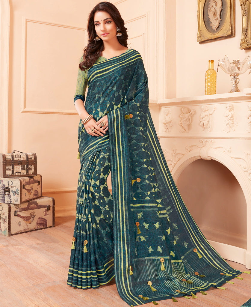 Blue Color Cotton Silk Party & Function Wear Sarees : Abhijata Collection  NYF-2068 - YellowFashion.in