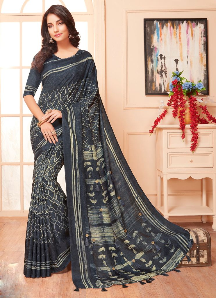 Grey Color Cotton Silk Party & Function Wear Sarees : Abhijata Collection  NYF-2070 - YellowFashion.in