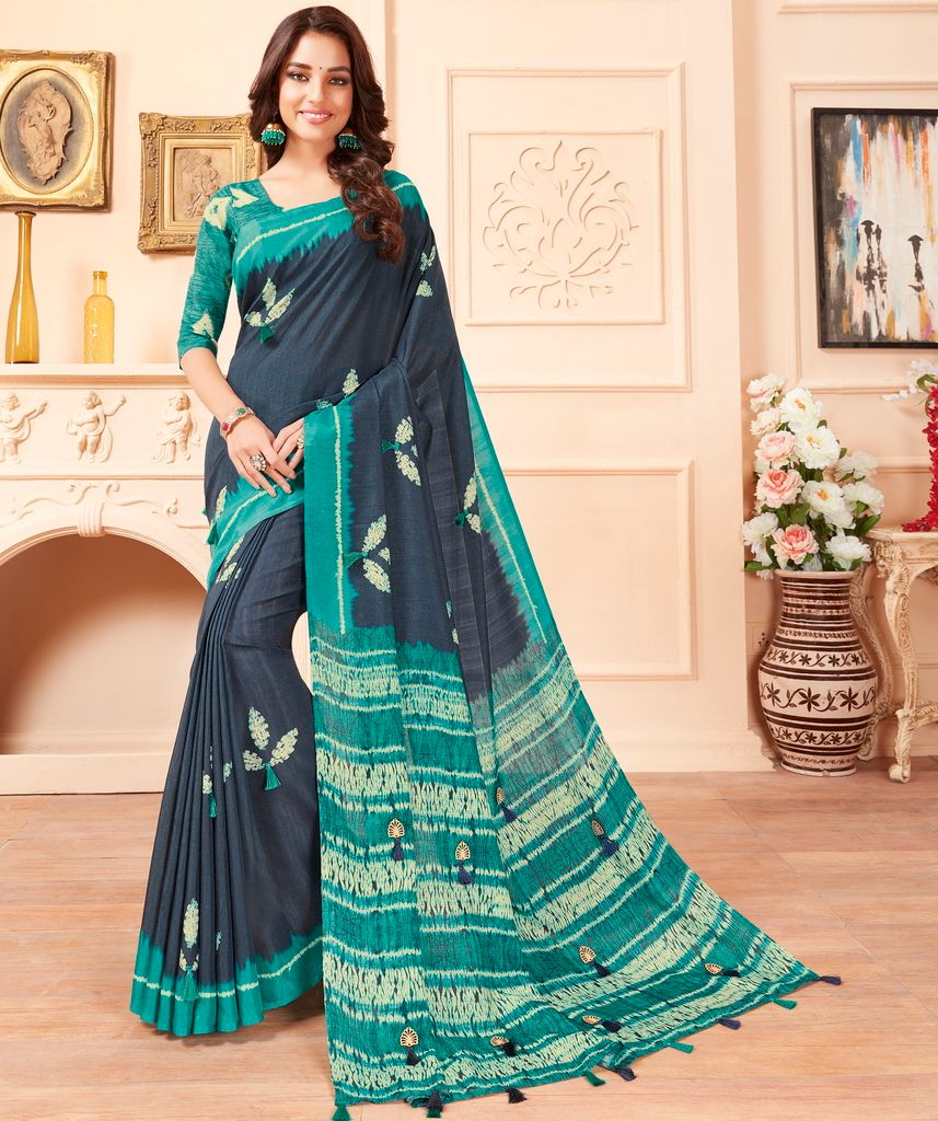 Grey & Firozi Color Cotton Silk Party & Function Wear Sarees : Abhijata Collection  NYF-2072 - YellowFashion.in