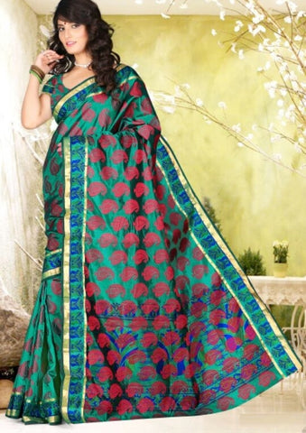 Green Color Art Silk Casual Wear Sarees : Dhir Collection  YF-31548