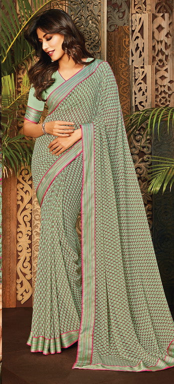 Pastel Green and Pink Color Georgette Casual Wear Saree- Aashvi Collection  YF#10547