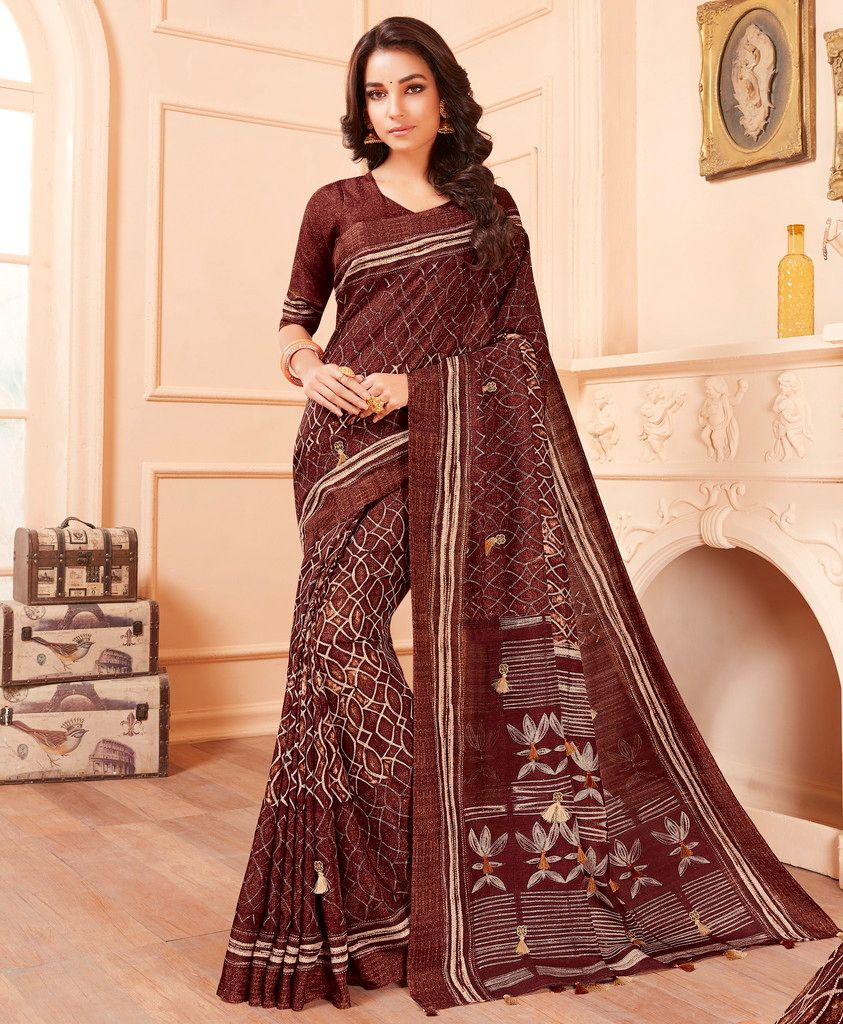 Brown Color Cotton Silk Party & Function Wear Sarees : Abhijata Collection  NYF-2080 - YellowFashion.in