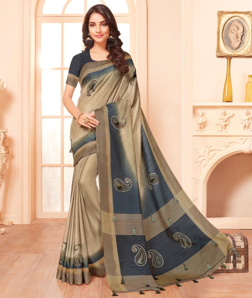 Beige & Grey Color Cotton Silk Party & Function Wear Sarees : Abhijata Collection  NYF-2081 - YellowFashion.in