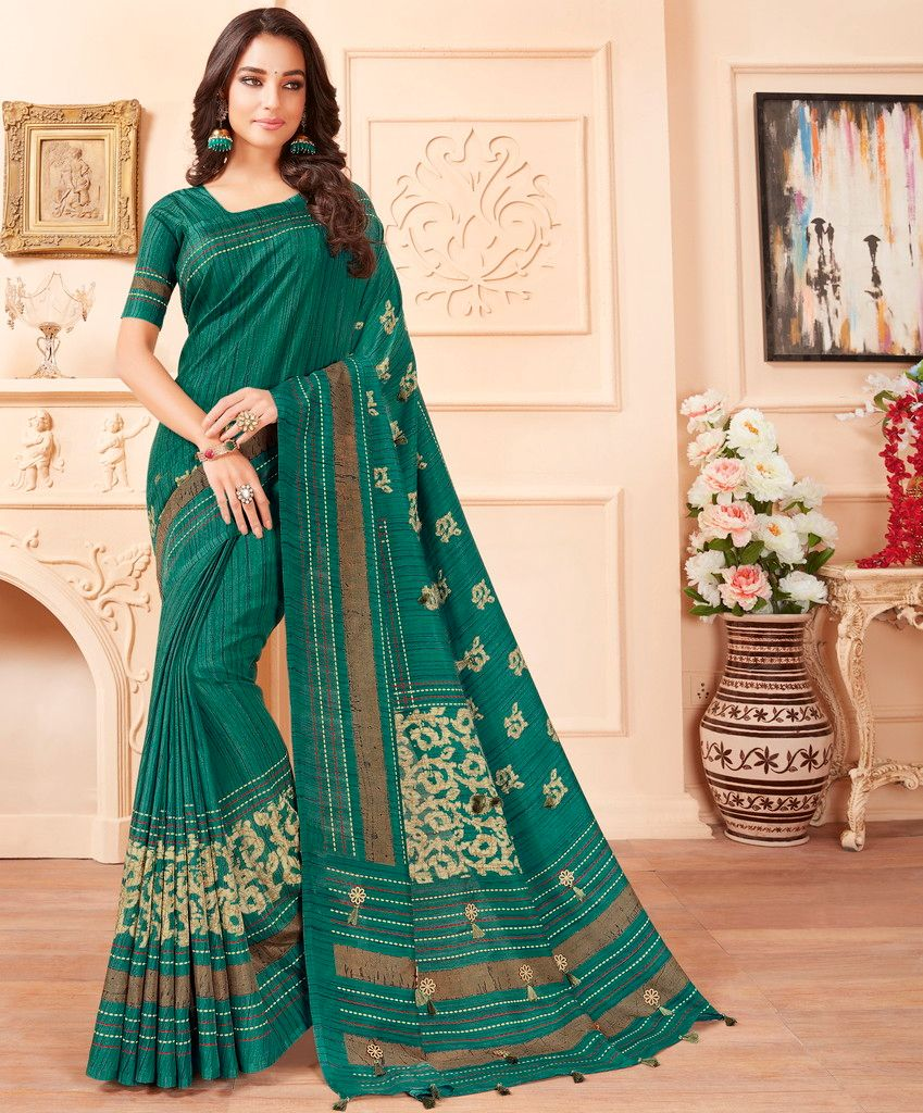 Rama Green Color Cotton Silk Party & Function Wear Sarees : Abhijata Collection  NYF-2082 - YellowFashion.in
