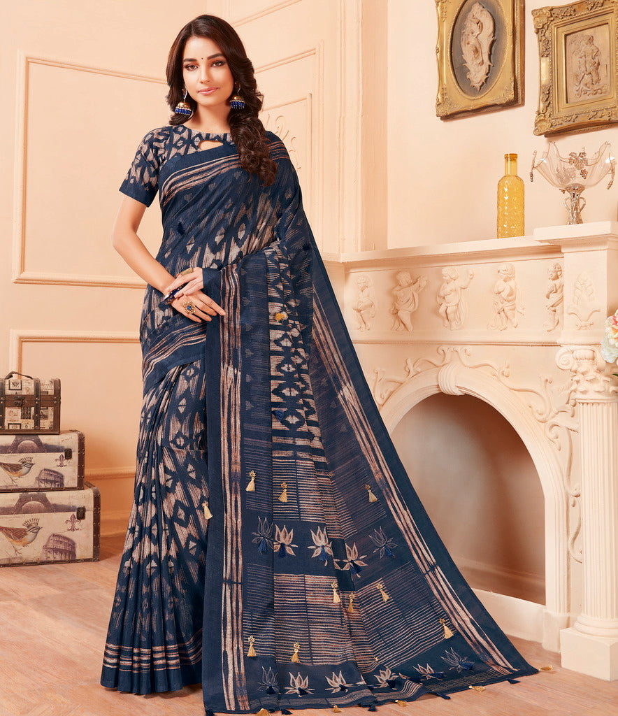 Blue Color Cotton Silk Party & Function Wear Sarees : Abhijata Collection  NYF-2083 - YellowFashion.in