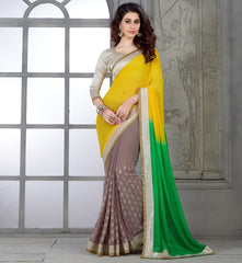 Yellow & Green Color Georgette Casual Party Sarees : Parvi Collection  YF-30869