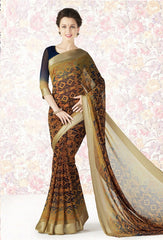 Mustard Yellow Color Georgette Casual Party Sarees : Mishrani Collection  YF-45998