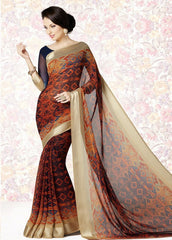 Orange Color Georgette Casual Party Sarees : Mishrani Collection  YF-45999