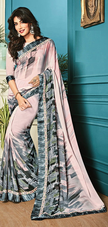 Baby Pink and Grey Color Georgette Casual Wear Saree- Aashvi Collection  YF#10549