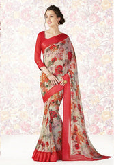 Cream & Pink Color Georgette Casual Party Sarees : Mishrani Collection  YF-46000