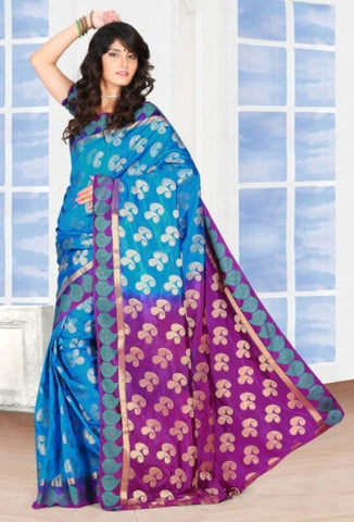 Blue & Magenta Color Art Silk Casual Wear Sarees : Dhir Collection  YF-31549