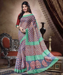Blue & Peach Color Bhagalpuri Casual Party Sarees : Sanchi Collection  YF-30993