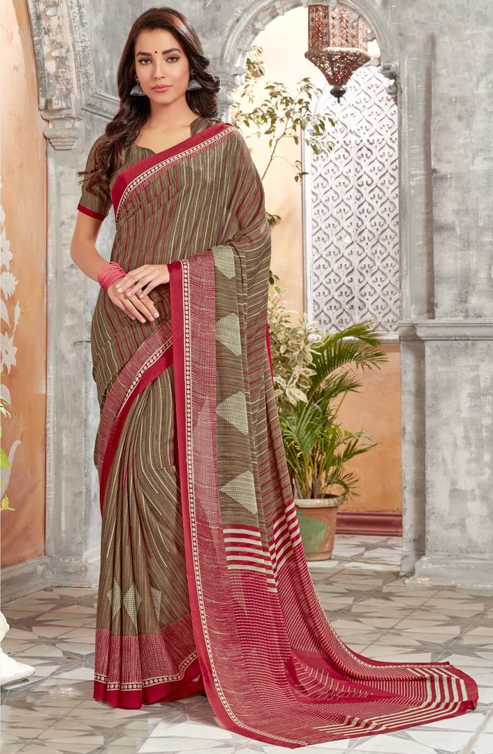 Brown Color Georgette Kitty Party Sarees : Archita Collection  NYF-3063 - YellowFashion.in