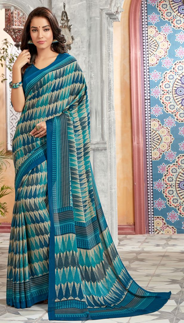 Blue Color Georgette Kitty Party Sarees : Archita Collection  NYF-3064 - YellowFashion.in