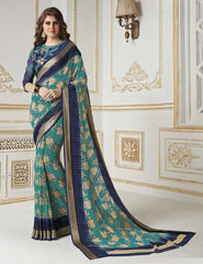 Green Color Georgette Party Wear Sarees : Khushali Collection  YF-45027