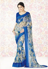 Cream & Blue Color Georgette Casual Party Sarees : Mishrani Collection  YF-46001