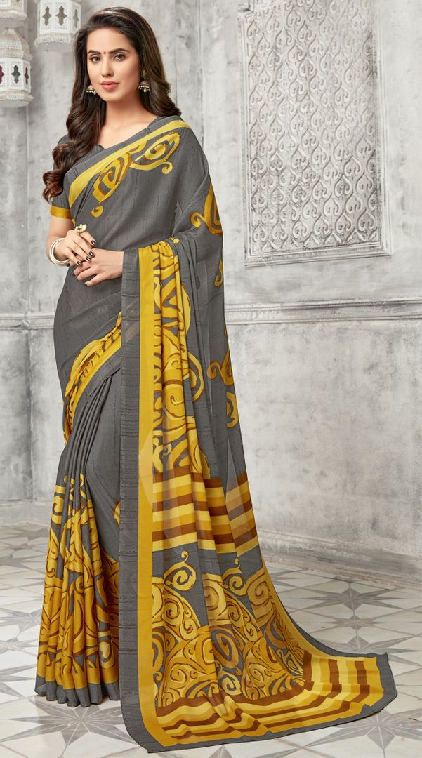 Grey Color Georgette Kitty Party Sarees : Archita Collection  NYF-3065 - YellowFashion.in
