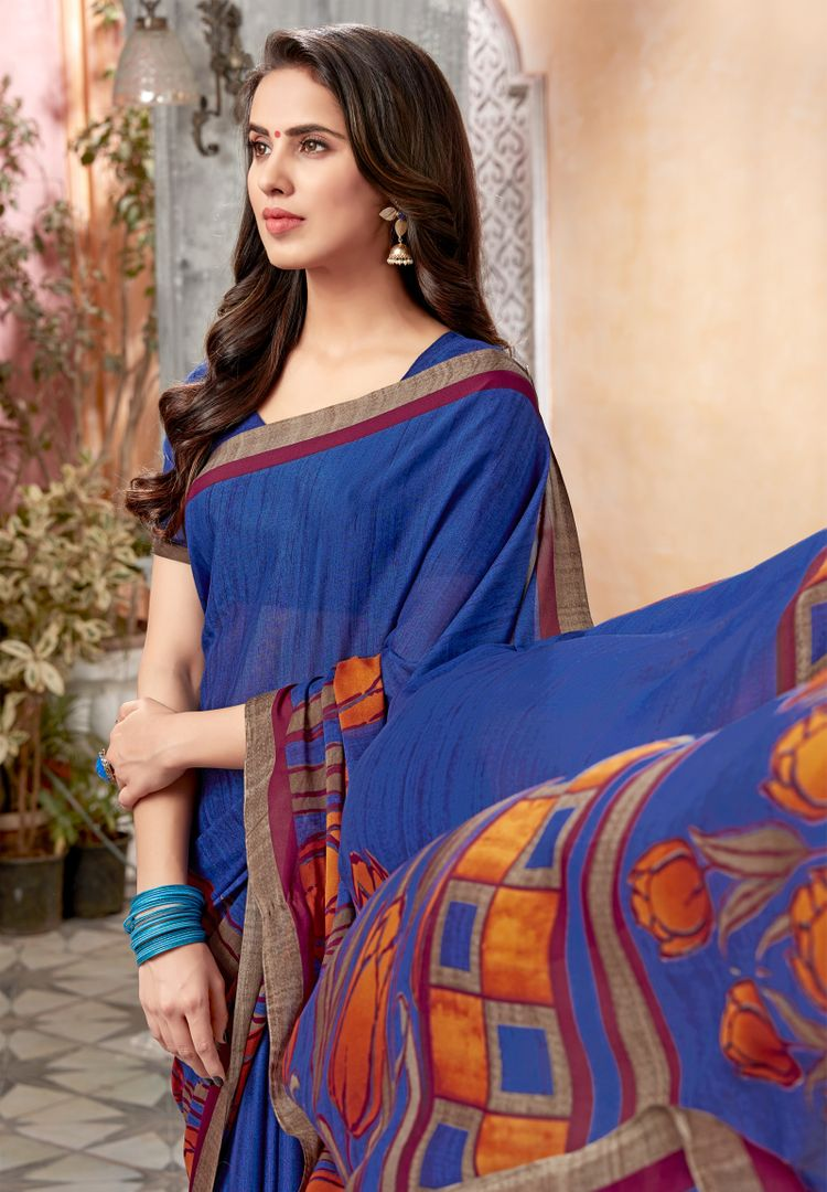 Blue Color Chiffon Kitty Party Sarees : Archita Collection  NYF-3066 - YellowFashion.in
