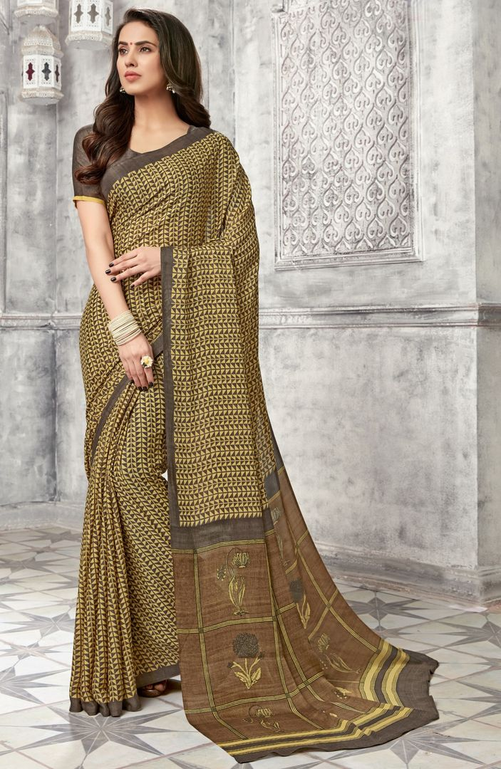 Grey & Cream Color Chiffon Kitty Party Sarees : Archita Collection  NYF-3067 - YellowFashion.in