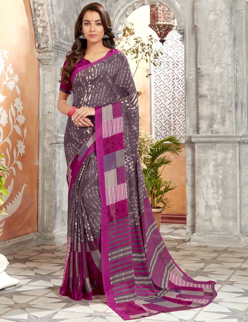 Lavender Color Georgette Kitty Party Sarees : Archita Collection  NYF-3068 - YellowFashion.in