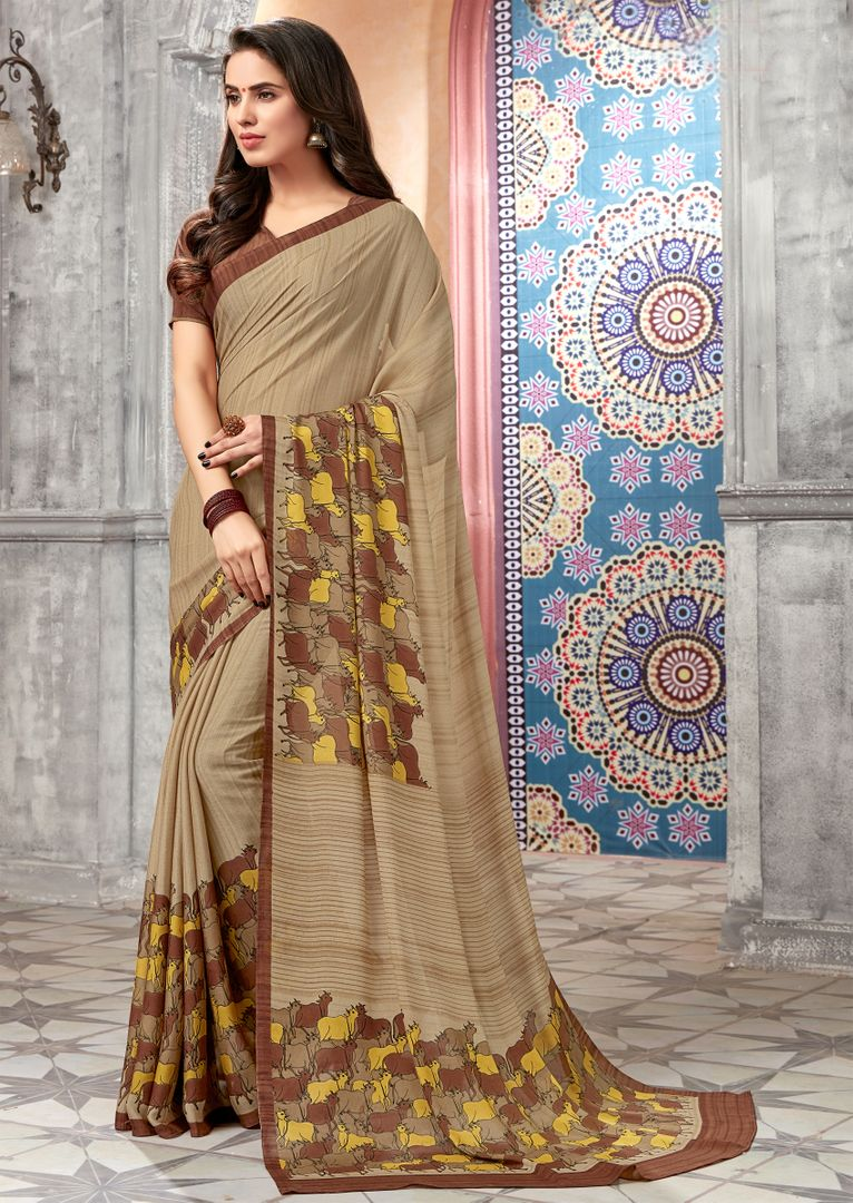 Beige Color Chiffon Kitty Party Sarees : Archita Collection  NYF-3069 - YellowFashion.in