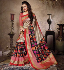 Golden & Red Color Bhagalpuri Casual Party Sarees : Sanchi Collection  YF-31003