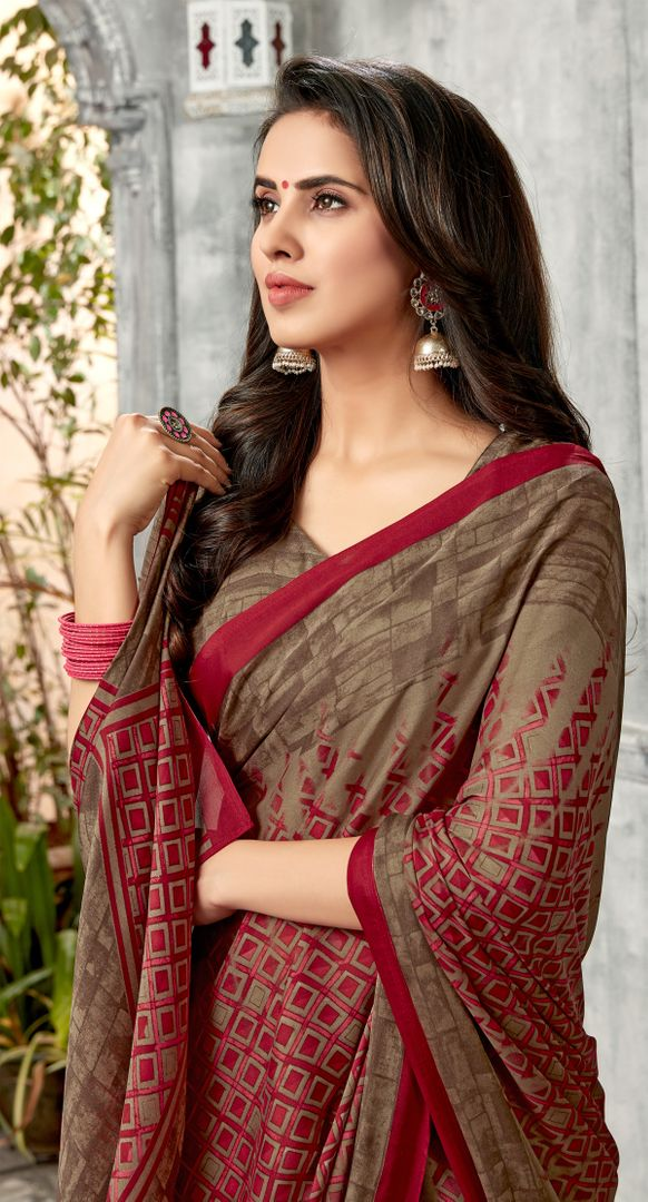 Maroon  & Beige Color Chiffon Kitty Party Sarees : Archita Collection  NYF-3071 - YellowFashion.in