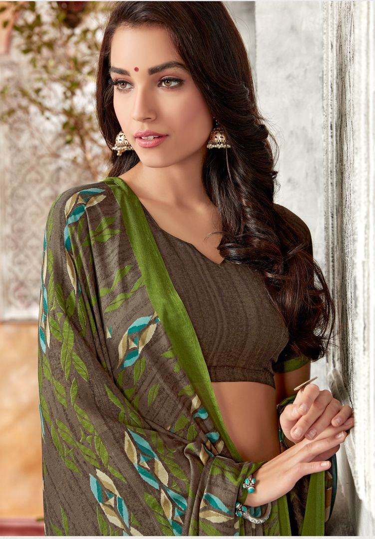 Grey & Green Color Chiffon Kitty Party Sarees : Archita Collection  NYF-3072 - YellowFashion.in