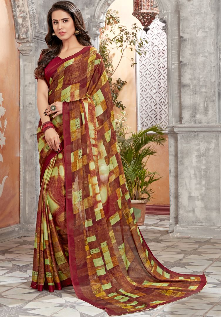 Multi Color Chiffon Kitty Party Sarees : Archita Collection  NYF-3073 - YellowFashion.in