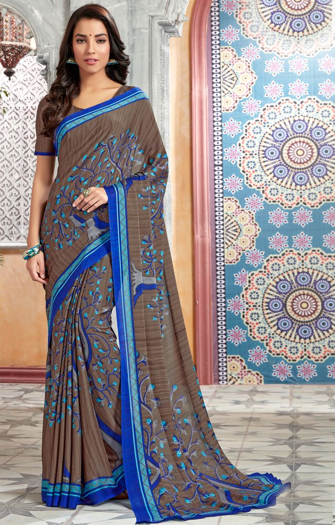 Grey & Blue Color Chiffon Kitty Party Sarees : Archita Collection  NYF-3074 - YellowFashion.in