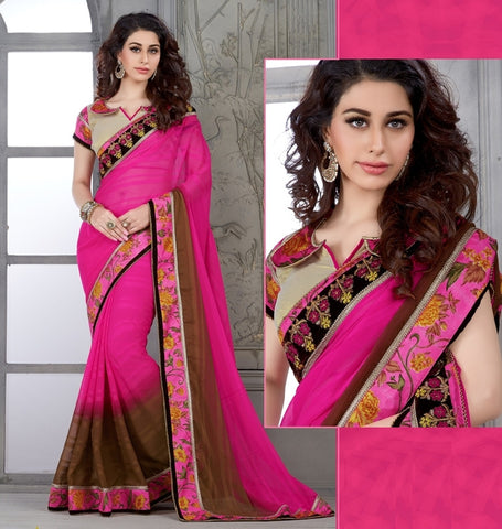 Rani Pink & Brown Color Chiffon Casual Party Sarees : Parvi Collection  YF-30873