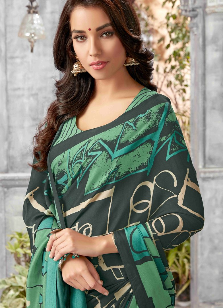 Green Color Crepe Georgette Kitty Party Sarees : Archita Collection  NYF-3318 - YellowFashion.in
