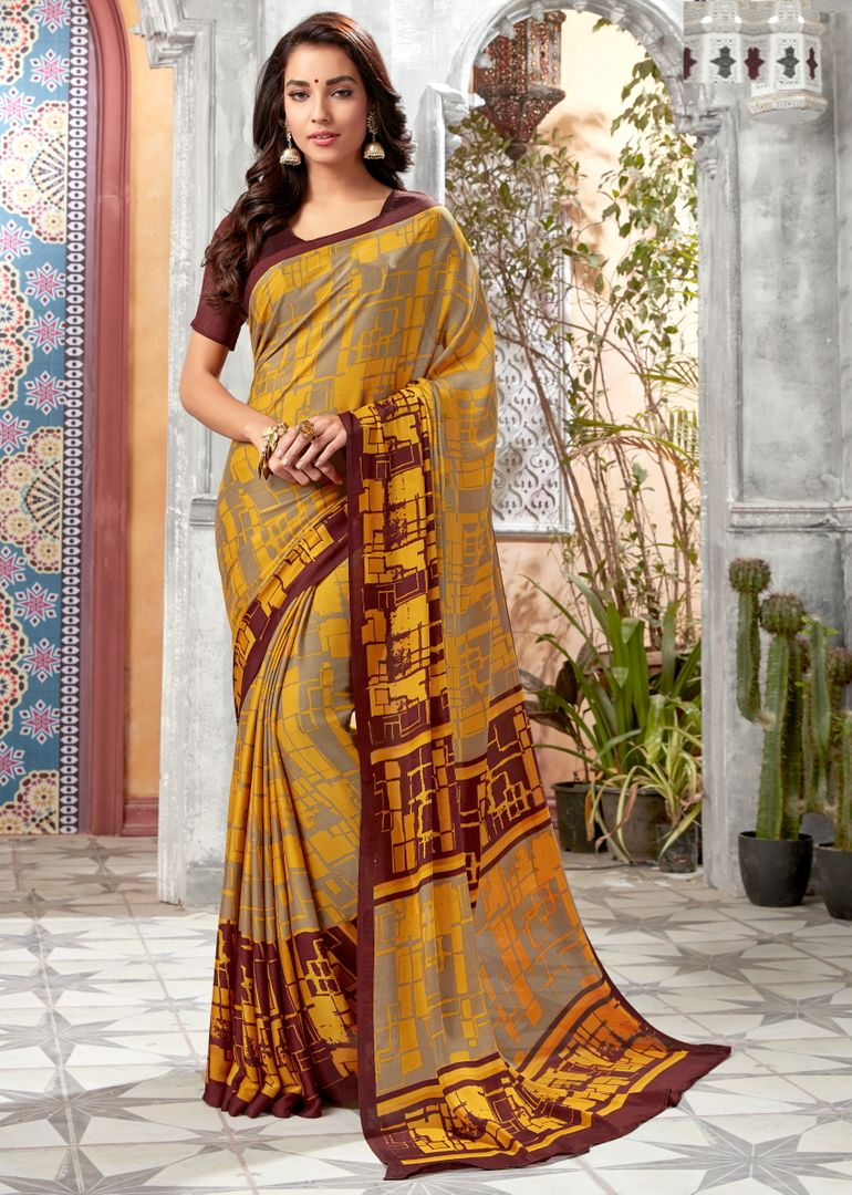 Yellow & Brown Color Crepe Georgette Kitty Party Sarees : Archita Collection  NYF-3319 - YellowFashion.in