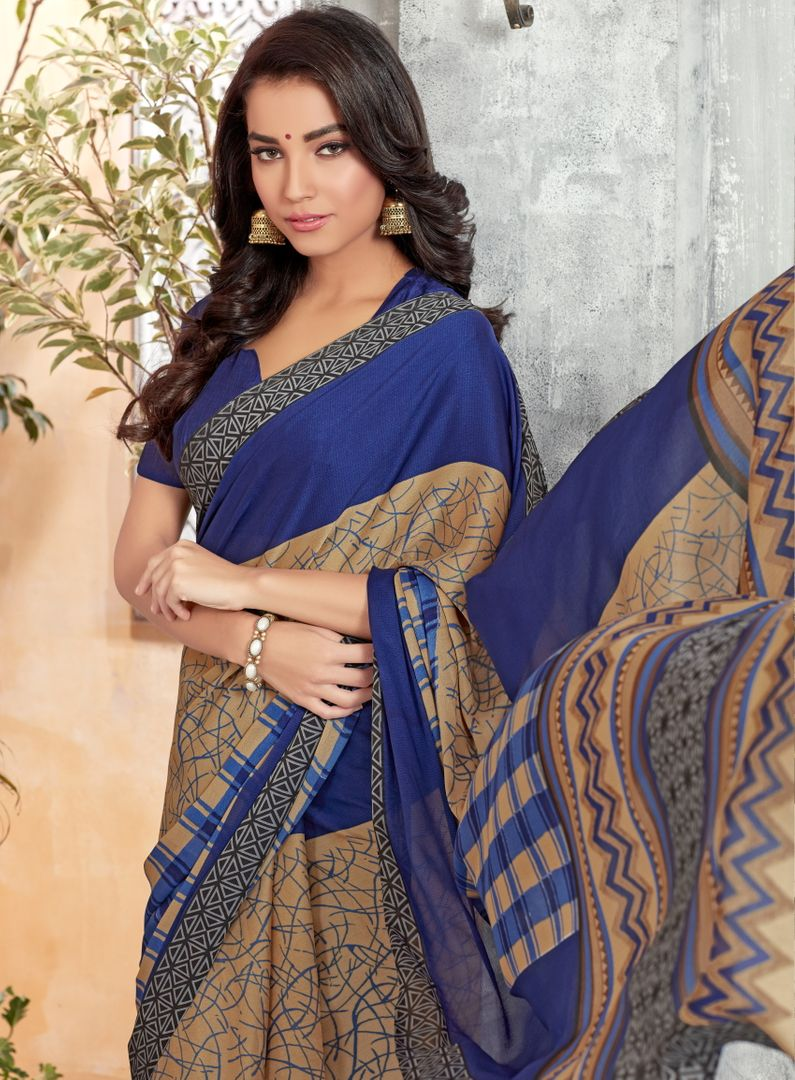 Blue Color Crepe Georgette Kitty Party Sarees : Archita Collection  NYF-3320 - YellowFashion.in