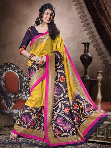 Mustard Yellow Color Bhagalpuri Casual Party Sarees : Sanchi Collection  YF-31013