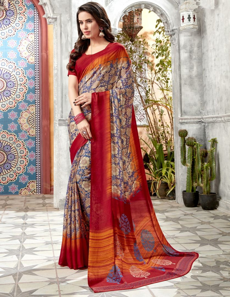 Multi Color Crepe Georgette Kitty Party Sarees : Archita Collection  NYF-3322 - YellowFashion.in